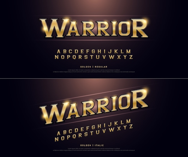 Alphabet golden metallic and effect Premium Vector