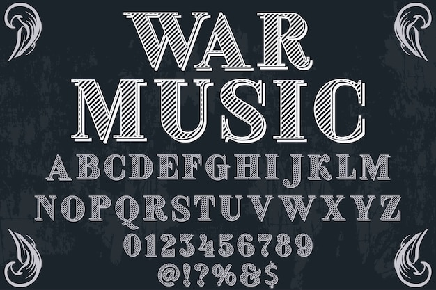 Alphabet handcrafted label design war music Premium Vector
