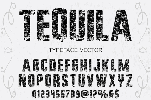 Alphabet label design tequla Premium Vector