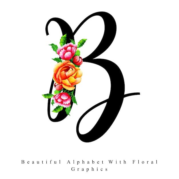 Alphabet Letter B Watercolor Floral Background Vector