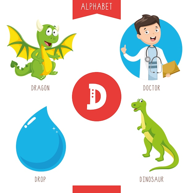 Alphabet letter d and pictures Premium Vector