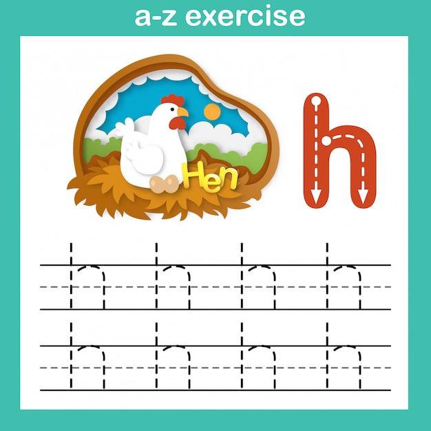 Alphabet letter h-hen exercise,paper cut concept vector illustration Premium Vector