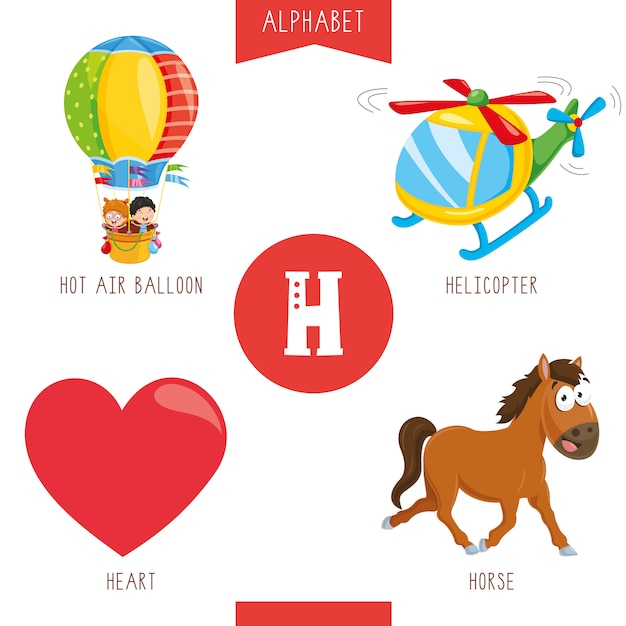 Alphabet letter h and pictures Premium Vector