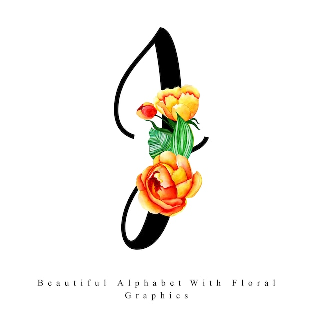 Alphabet letter j watercolor floral background Premium Vector