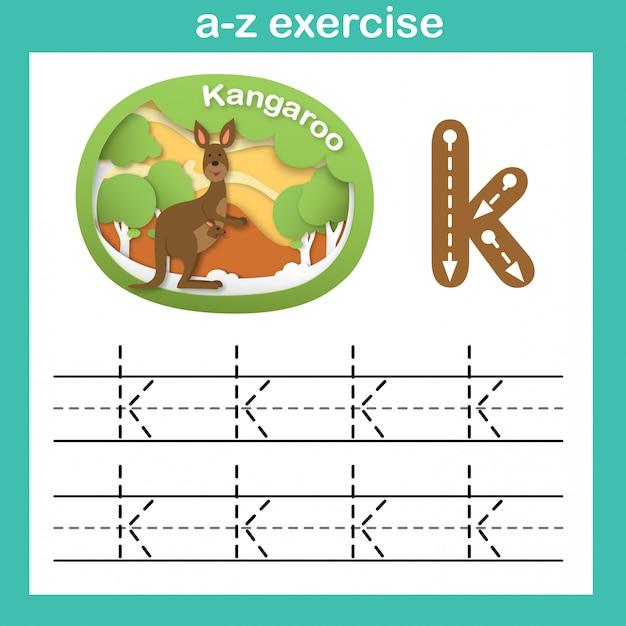 Alphabet letter k-kangaroo exercise,paper cut concept vector illustration Premium Vector