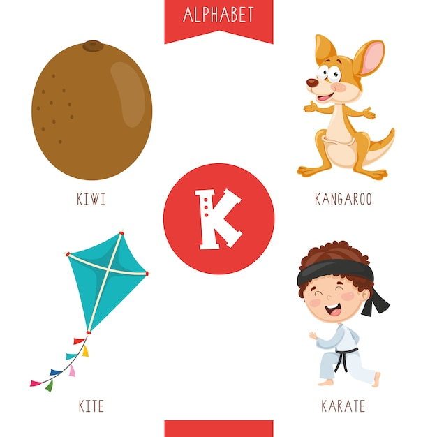 Alphabet letter k and pictures Premium Vector