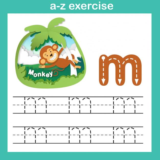 Alphabet letter m-monkey exercise,paper cut concept vector illustration Premium Vector