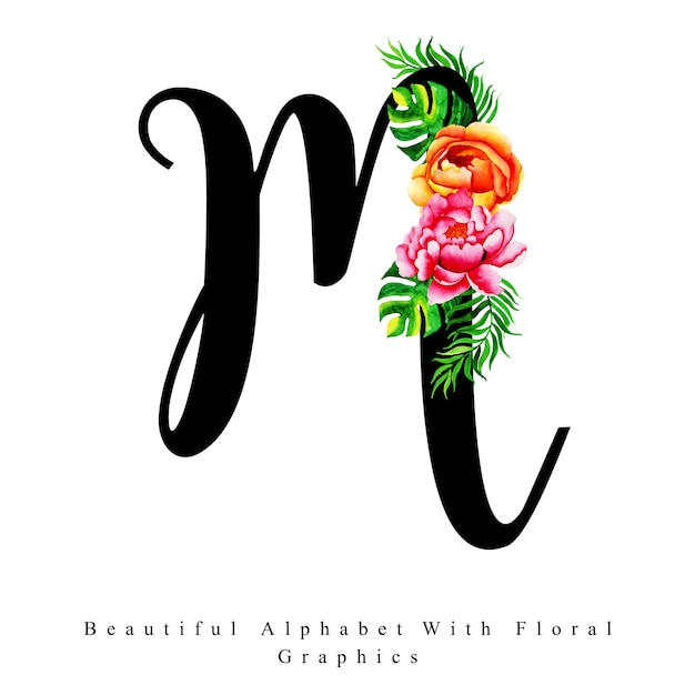 Alphabet Letter M Watercolor Floral Background Vector Premium Download
