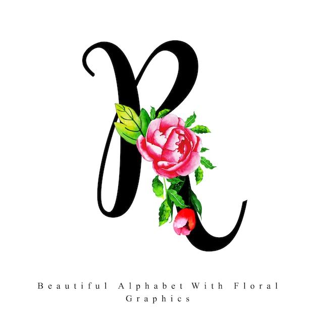 Alphabet Letter R Watercolor Floral Background Vector