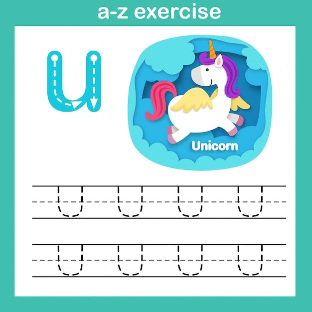 Alphabet letter u-unicorn exercise,paper cut concept vector illustration Premium Vector