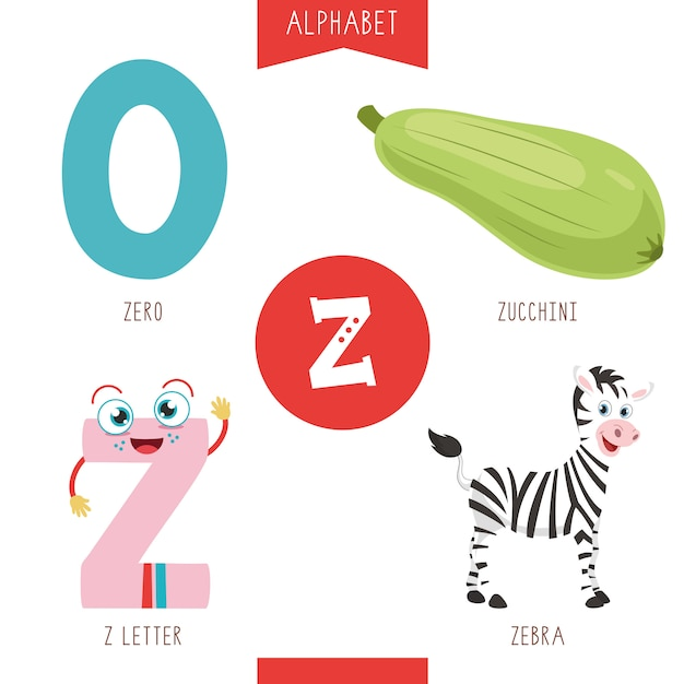 Alphabet letter z and pictures Vector | Premium Download