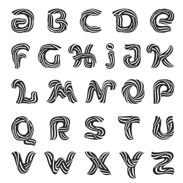 Alphabet letters formed by twisted wool lines. Premium Vector