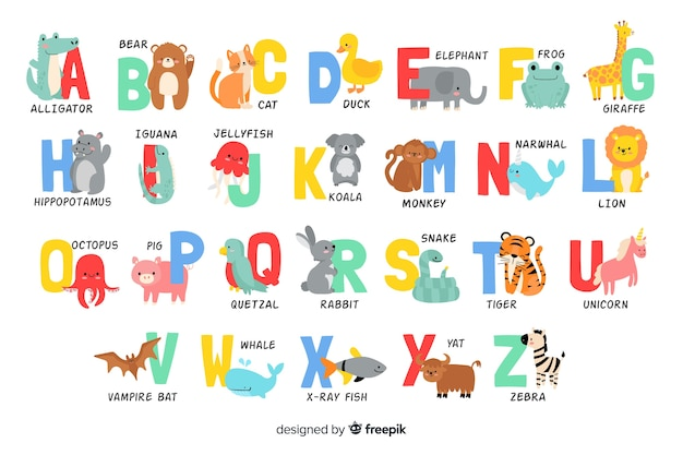 Alphabet letters from animals shapes Free Vector