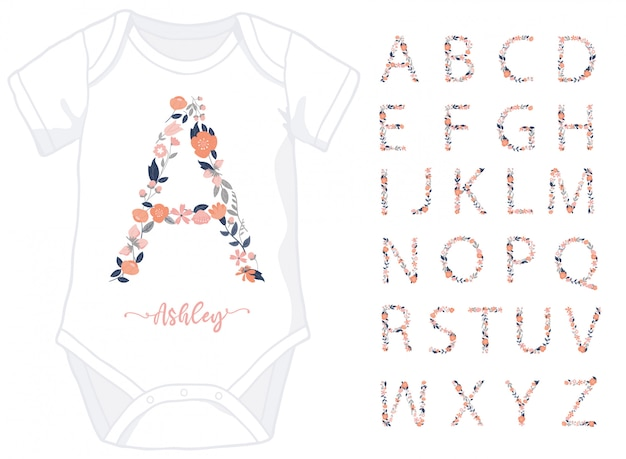 Alphabet letters made of floral elements for baby girl onesie Premium Vector