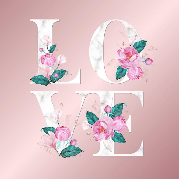 로즈 골드 배경에 수채화 꽃 알파벳 편지. 아름다운 타이포그래피 디자인