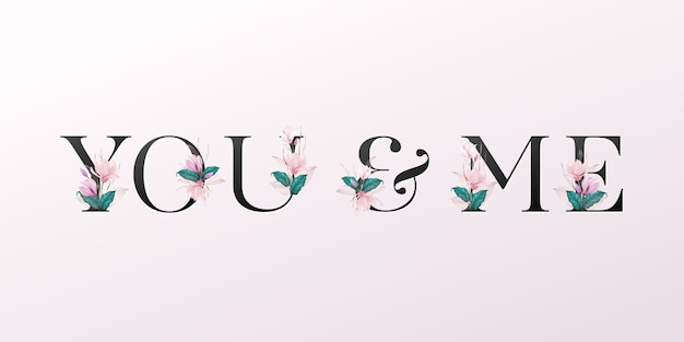Alphabet letters with watercolor flowers on soft pink background Premium Vector