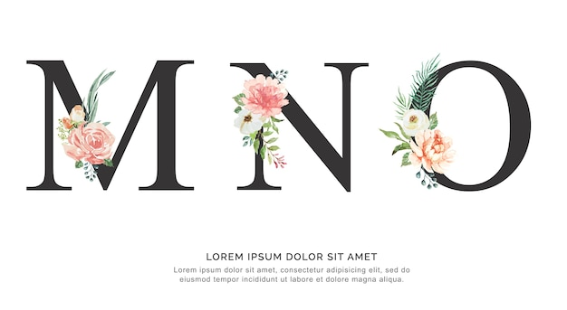 Alphabet m n o flower and leaves watercolor. Premium Vector