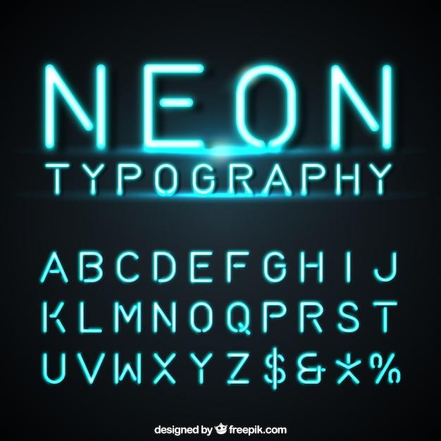 Alphabet made of neon Free Vector