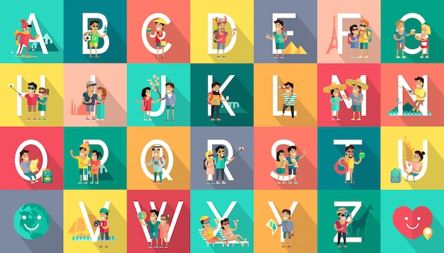Alphabet mobile people vector flat design concept Premium Vector