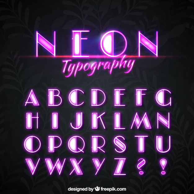 Alphabet Neon Of Pink Lights Free Vector