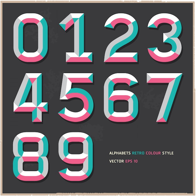Alphabet numbers vintage color style Premium Vector