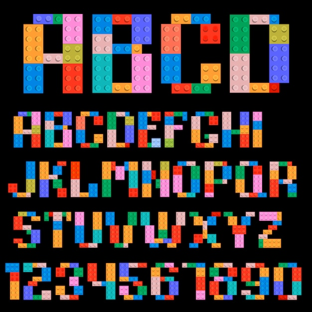Alphabet and numbers Premium Vector