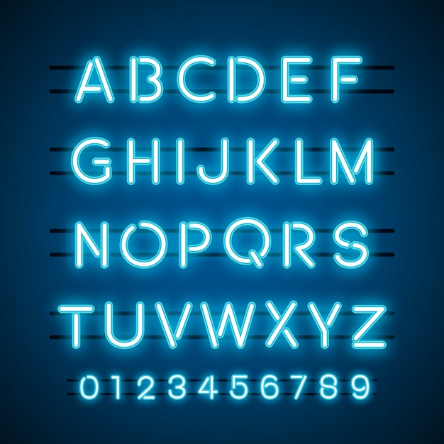 The alphabet and numeral system vectors Free Vector