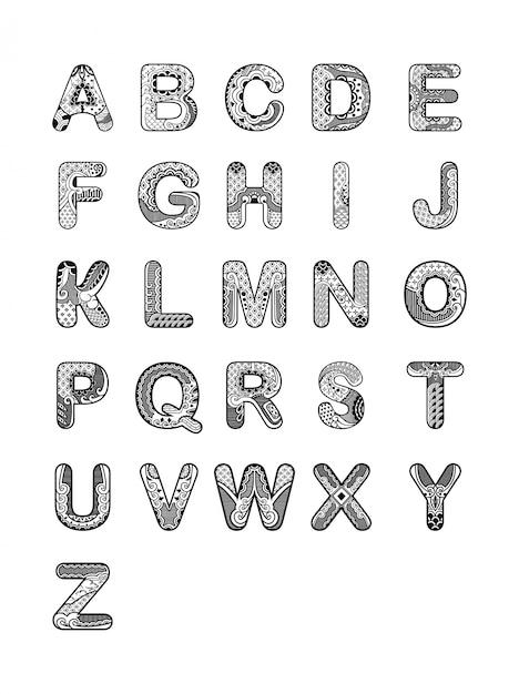 alphabet ornament font vector premium download