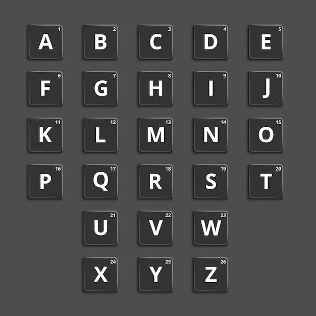 Piastrelle in plastica con alfabeto per giochi di parole sconcertanti. elemento puzzle, pulsante grafico. Vettore gratuito