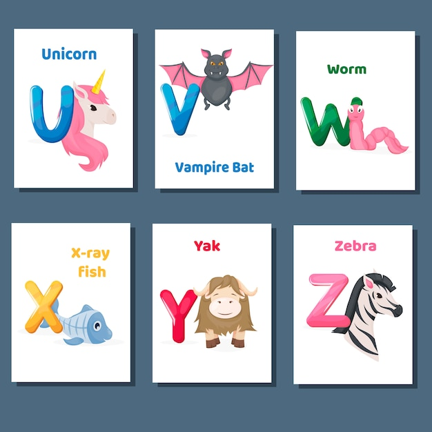 Alphabet printable flashcards vector collection with letter u v w x y z. zoo animals for english language education. Premium Vector