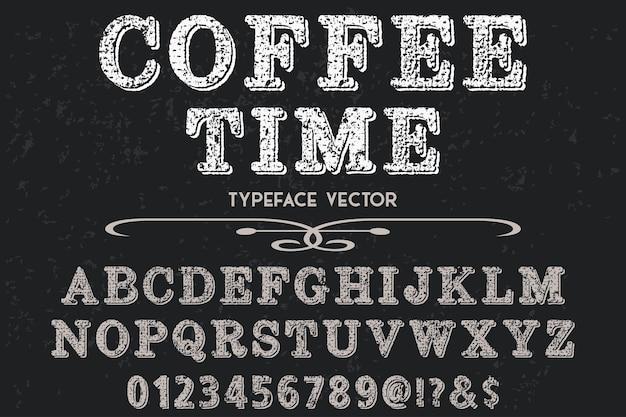 Alphabet shadow effect label design coffee time Premium Vector