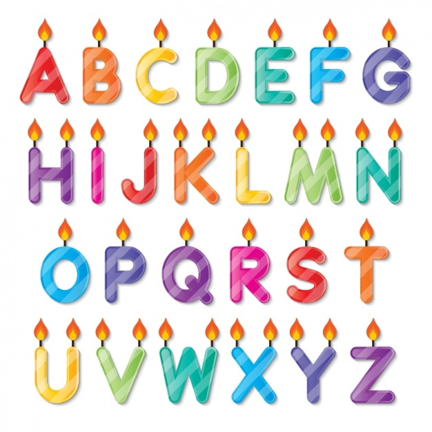 Alphabet Shaped Birthday Candles Vector