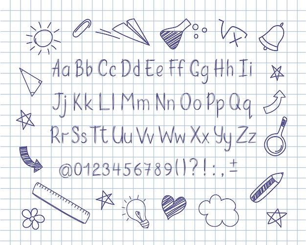 Alphabet in sketchy style with school doodles on copybook sheet. Premium Vector