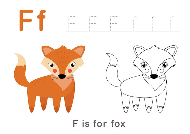 Premium Vector Alphabet Tracing And Coloring Worksheet A Z Writing Pages Letter F Uppercase And Lowercase Tracing With Cartoon Fox Illustration Handwriting Exercise For Kids Printable Worksheet