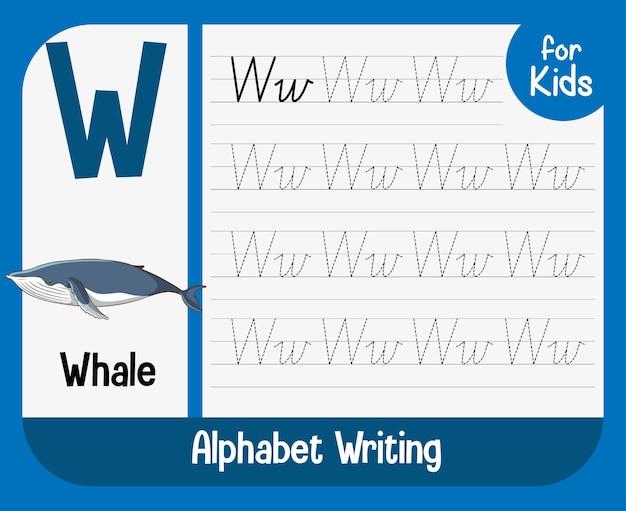 문자와 어휘가 포함 된 알파벳 추적 워크 시트 무료 벡터