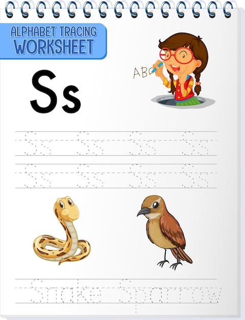 Alphabet tracing worksheet with letter s and s Free Vector