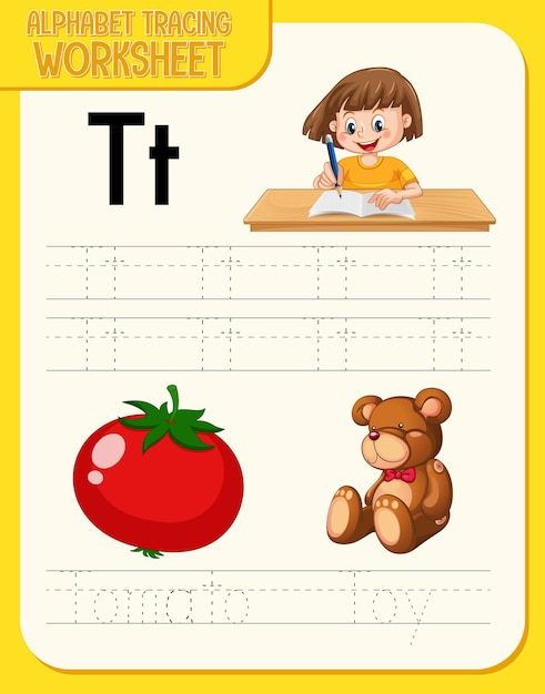 Alphabet tracing worksheet with letter t and t Free Vector