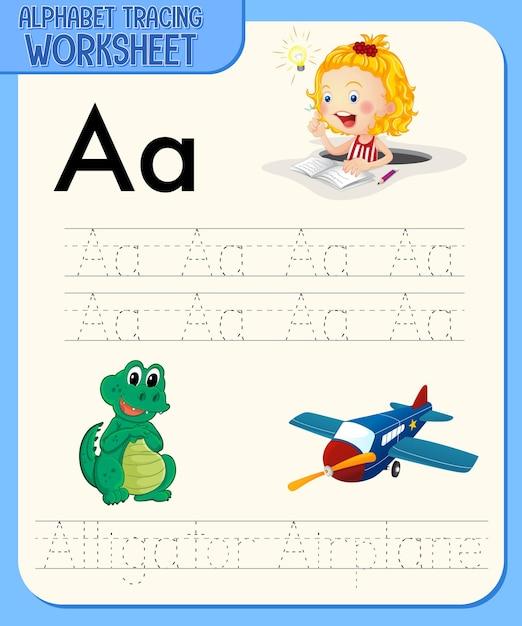 Foglio di lavoro di analisi dell'alfabeto con lettera e vocabolario Vettore gratuito