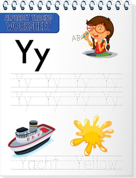 Рабочий лист трассировки алфавита с буквой y и y Бесплатные векторы