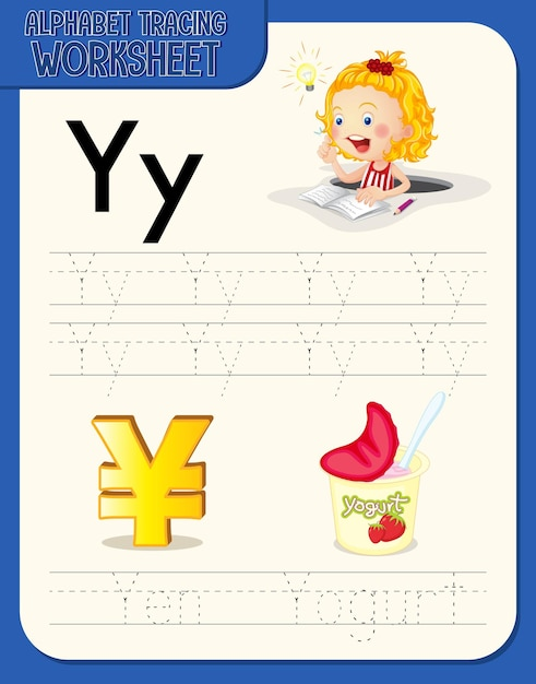 Alphabet tracing worksheet with letter y and y Free Vector