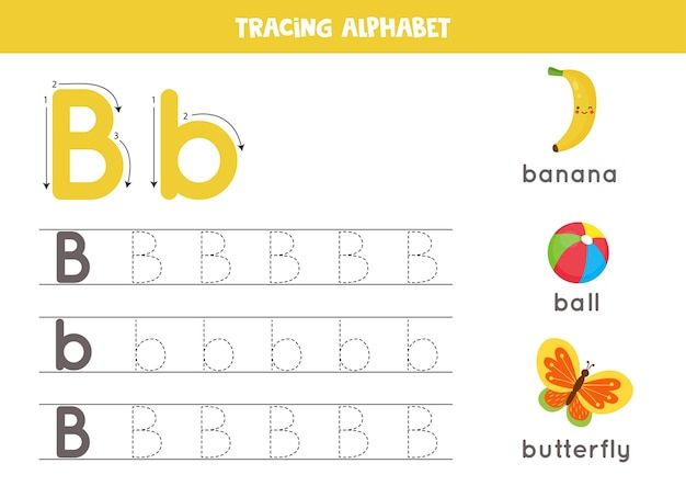 Premium Vector Alphabet Tracing Worksheet. A-z Writing Pages. Letter B  Uppercase And Lowercase Tracing With Cartoon Butterfly, Ball, Banana.  Handwriting Exercise For Kids. Printable Worksheet.