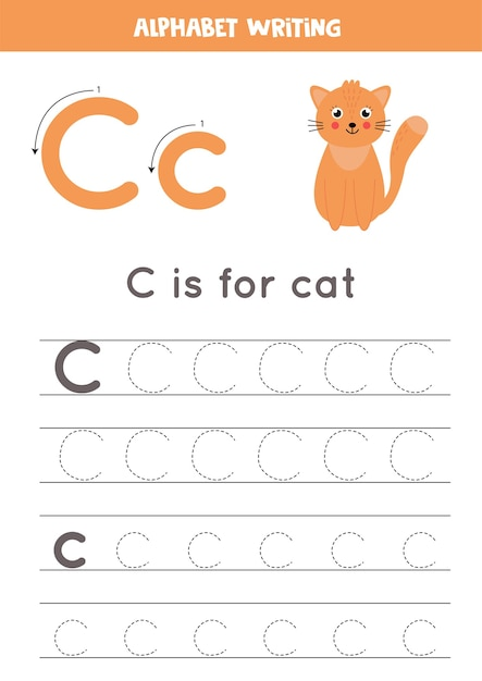 Premium Vector Alphabet Tracing Worksheet. A Z Writing Pages. Letter C  Uppercase And Lowercase Tracing With Cartoon Cat Illustration. Handwriting  Exercise For Kids. Printable Worksheet.
