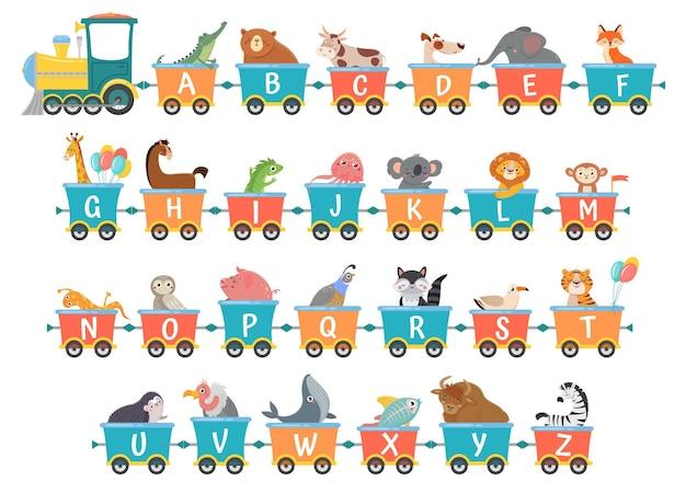 Alphabet train with animals