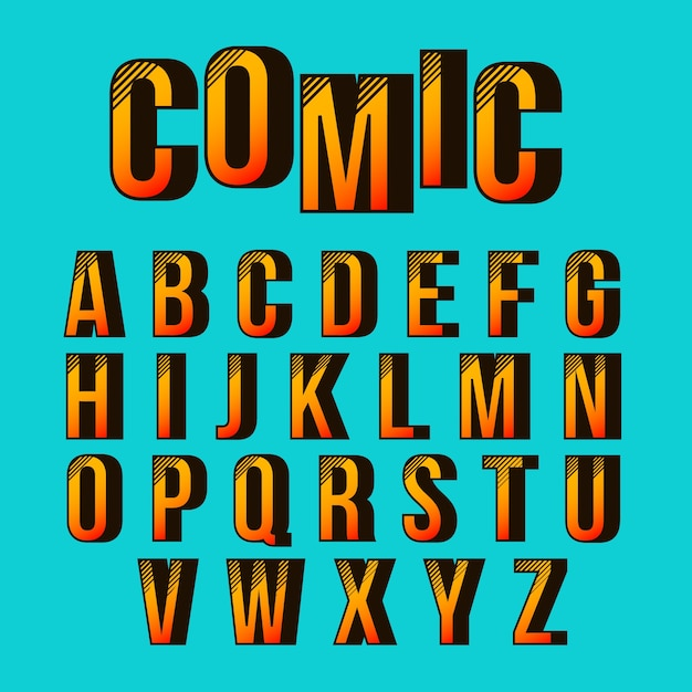 Alphabet with 3d comic design Free Vector