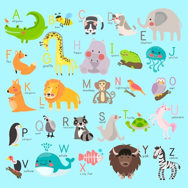 Alphabet with animals Free Vector