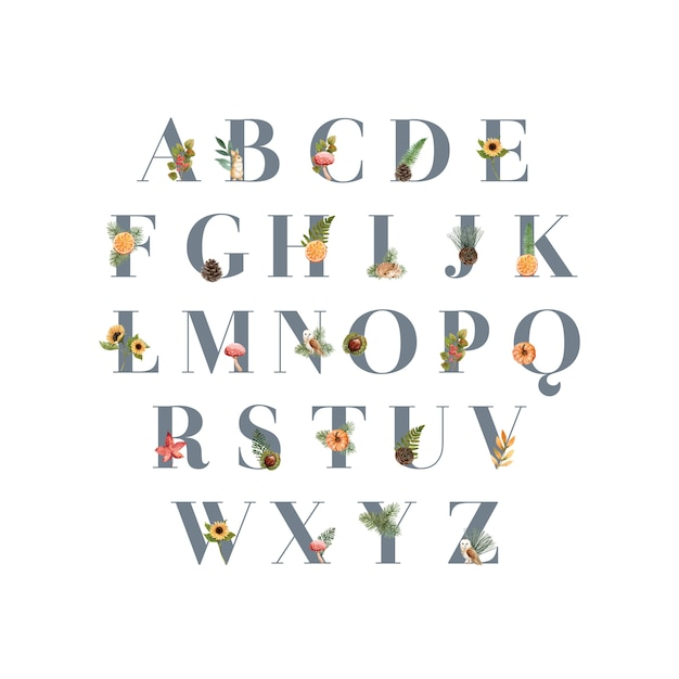 Alphabet with autumn theme Free Vector