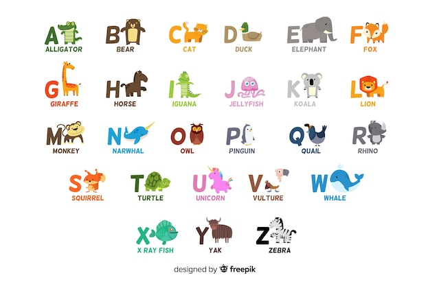 Alphabet with cute animals as letters Free Vector