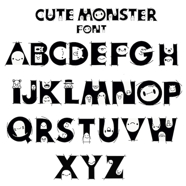 Alphabet with cute and funny monsters Premium Vector