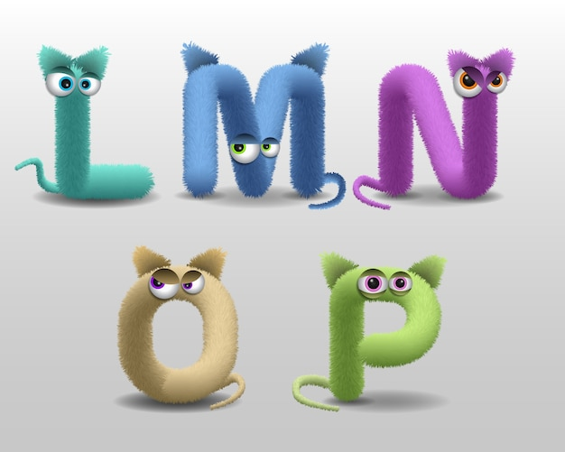 Alphabet with cute fur monster character Premium Vector