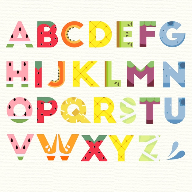 Alphabet with fruit design
